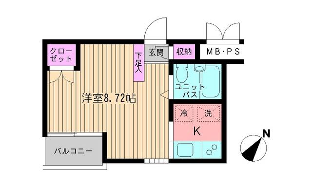 ビイルーム新宿・519号室の間取り
