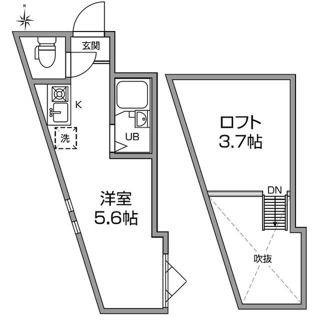 アーバンプレイス中井ⅡA棟・205号室の間取り