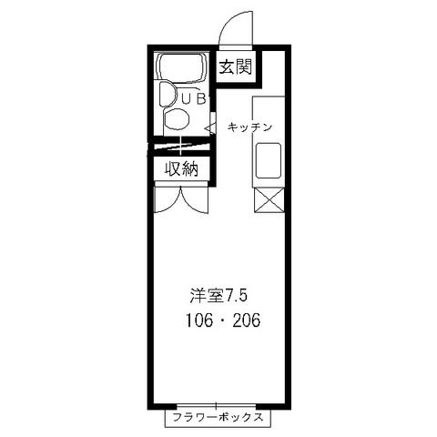エステートピアMIKI(ミキ)・206号室の間取り