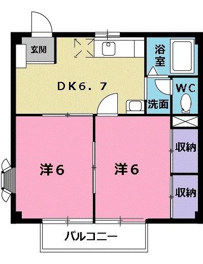 コーポさぎぬまA・02020号室の間取り