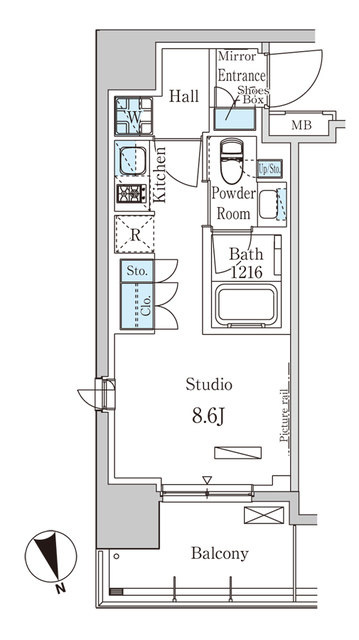 パークアクシス築地・508号室の間取り
