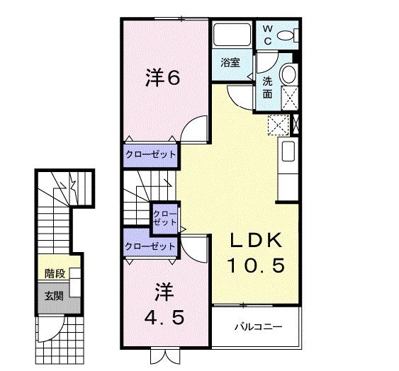 ニュ-クレコ-ポ・タカセB・02020号室の間取り