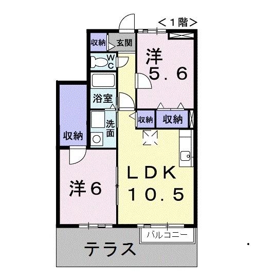 リバー・イースト・飯倉C 01020号室の間取り
