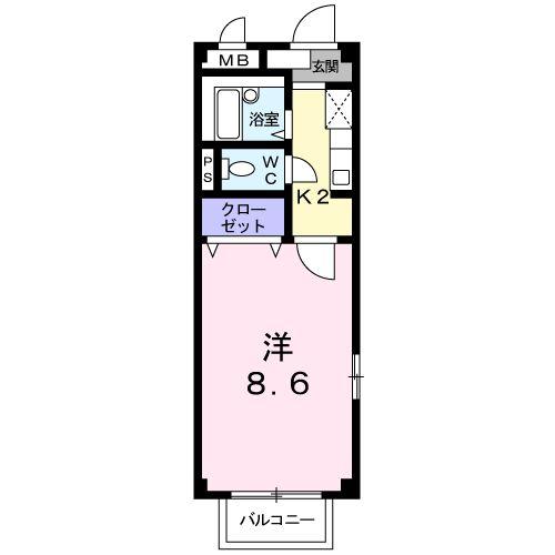 カンパ-ナC・02030号室の間取り