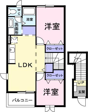 ニュ-クレコ-ポ・タカセB・02030号室の間取り