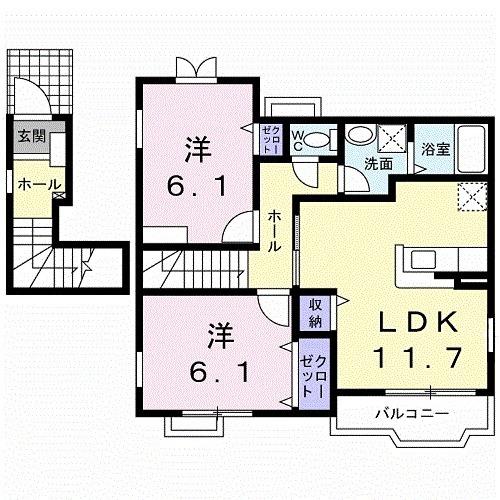 ケーズフロントⅠ・02010号室の間取り