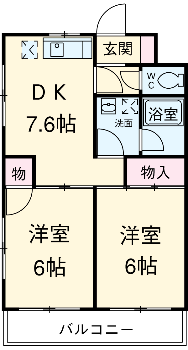 上島やよいマンション・203号室の間取り