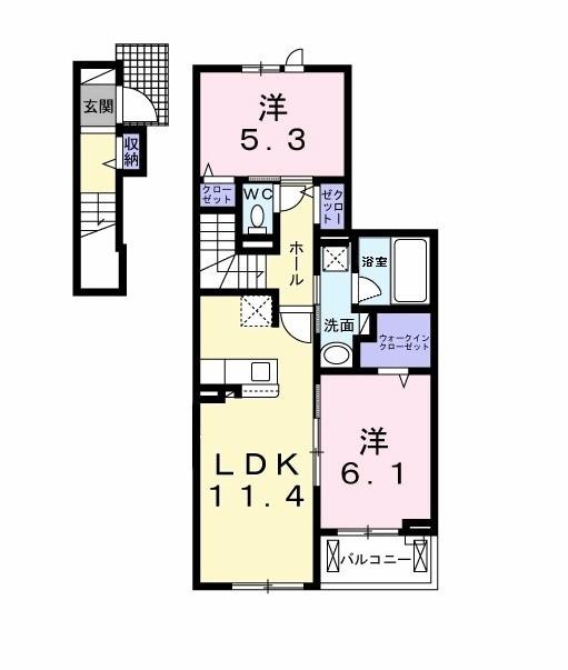 山崎アパート・02020号室の間取り