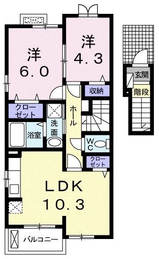 ビアンカ ローザ 赤坂 02040号室の間取り