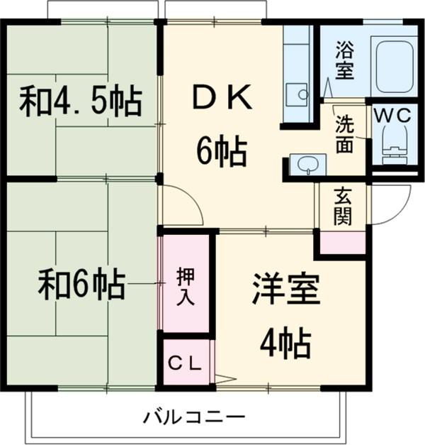 細川アーバンハイツ A棟・A203号室の間取り