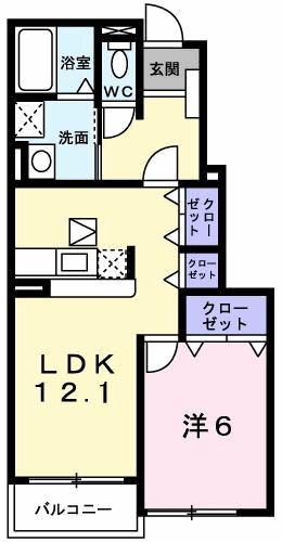 プリムローズT・K A・01020号室の間取り