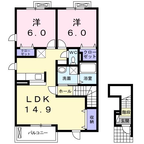 ソルシェ-ル熊取 Ⅲ番館・02010号室の間取り