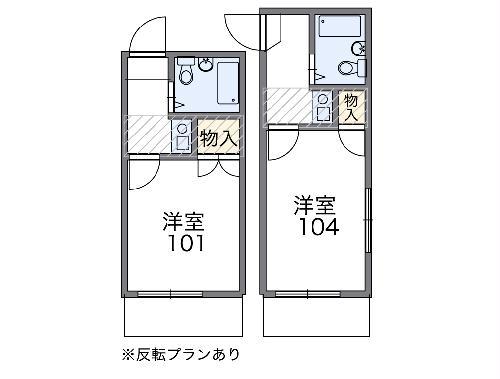 レオパレス西川田第2 102号室の間取り