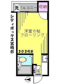 シティボックス宮崎台 303号室の間取り