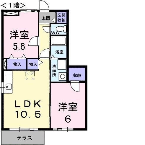プラーノ川瀬 B・01030号室の間取り