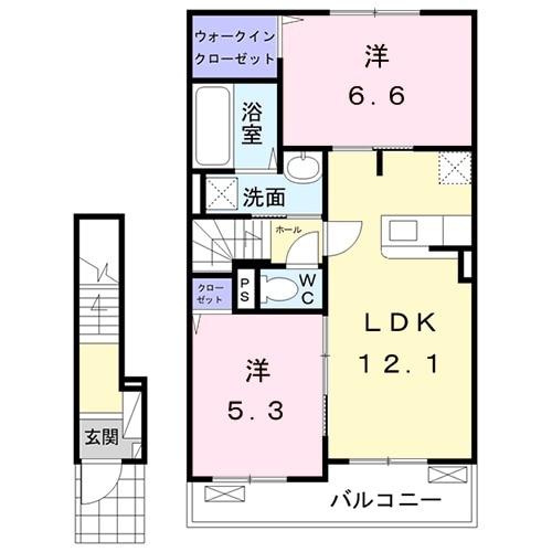 太田市アパート・02020号室の間取り