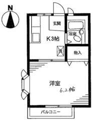 ハイムコバヤシ1号棟・205号室の間取り