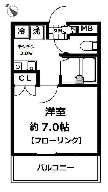 ヤシマメイト片倉・202号室の間取り