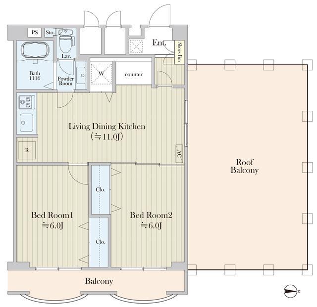 パークグレース新宿・1306号室の間取り