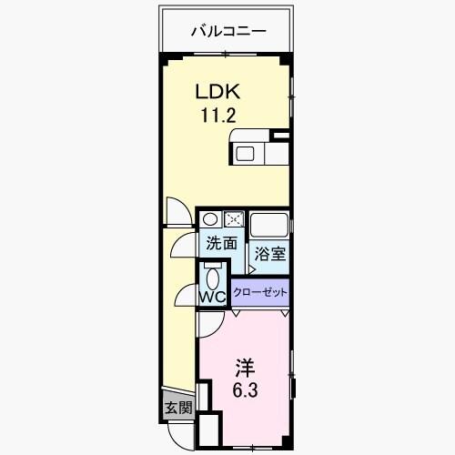 インテックスⅢ番館 02030号室の間取り