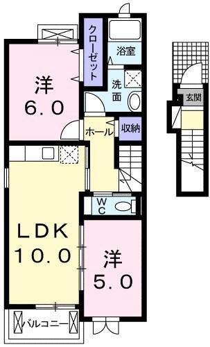 サンシャイン吉田屋・02040号室の間取り