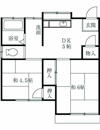 藤ヶ谷山田アパート・202号室の間取り