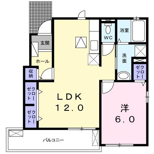 Casa牧野阪・01010号室の間取り