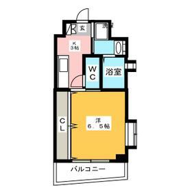 コスモス御笠川・801号室の間取り