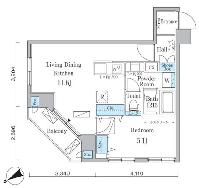 アーバネックス八丁堀・202号室の間取り