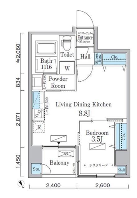 アーバネックス八丁堀・303号室の間取り