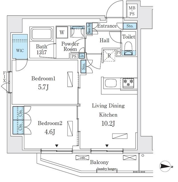 リビオメゾン両国イースト 704号室の間取り