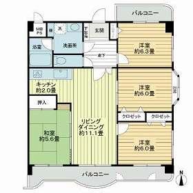 ライオンズマンション井尻東 405号室の間取り
