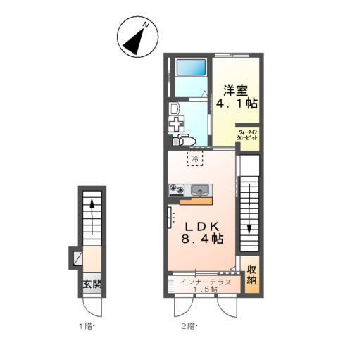 (キャトルセゾン)安行吉岡新築アパート 203号室の間取り