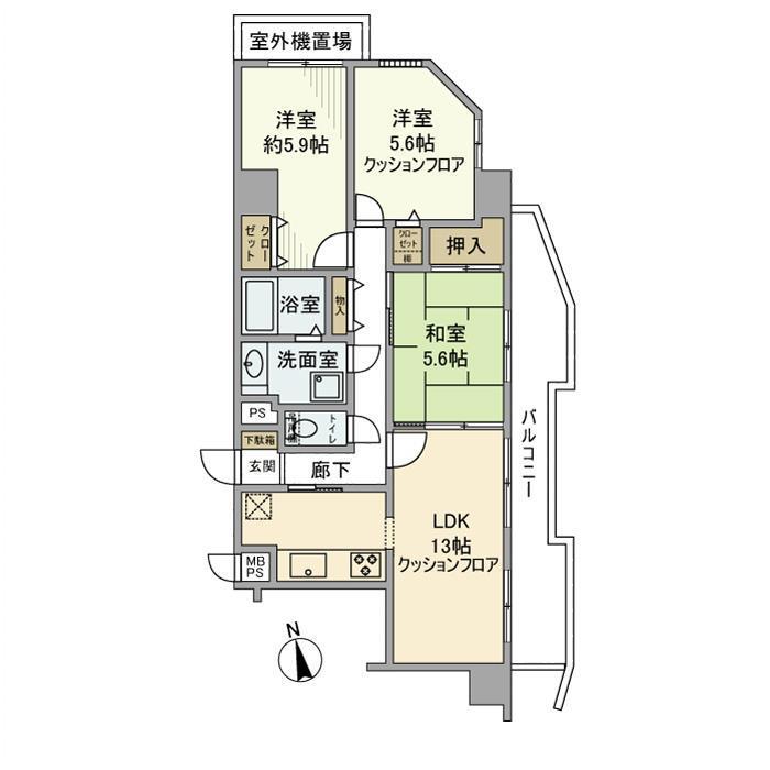 プレール湘南辻堂ステーションタワー 1304号室の間取り
