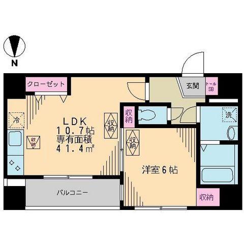 リベア東神田・0603号室の間取り