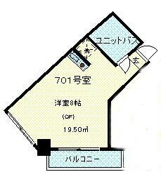 ヴィレッジ高松・701号室の間取り