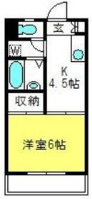 第一松運ハイツ・206号室の間取り