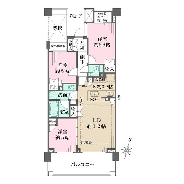 ザ・パークハウス上鷺宮A棟・314号室の間取り