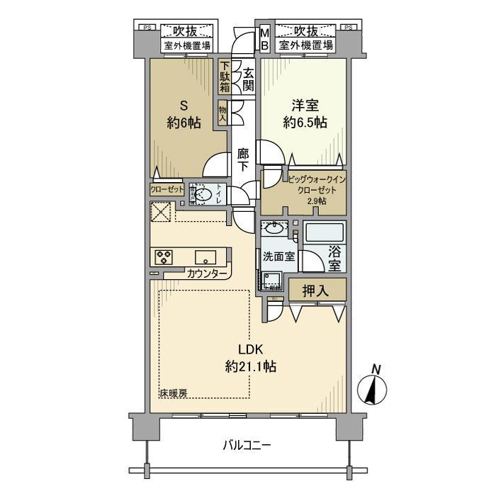 クレストフォルム東京グランイースト・1007号室の間取り