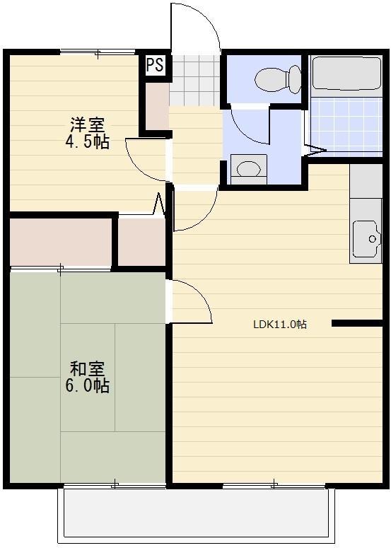 ナガシマハイツ A102号室の間取り