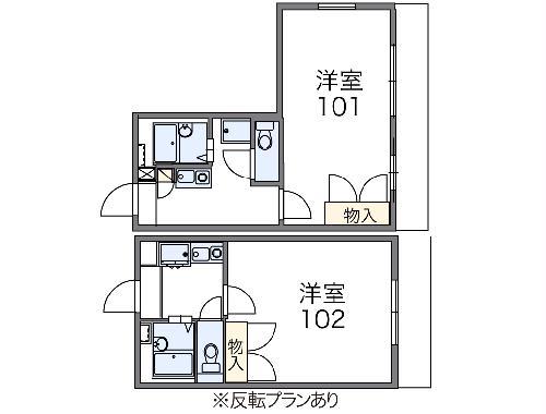 レオパレスサンライズ富岡・103号室の間取り