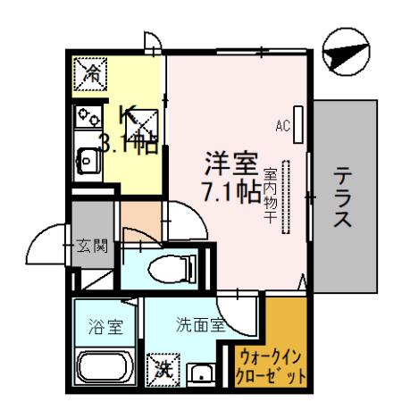 (仮称)D-room一乗寺高槻町・101号室の間取り
