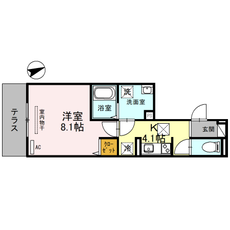 (仮称)D-room一乗寺高槻町・102号室の間取り