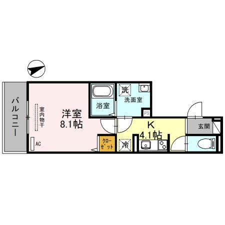 (仮称)D-room一乗寺高槻町・202号室の間取り