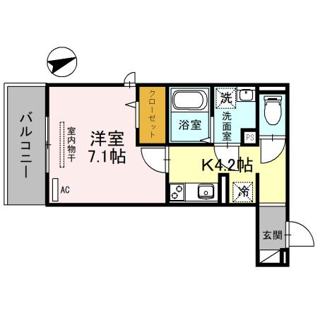 (仮称)D-room一乗寺高槻町・203号室の間取り