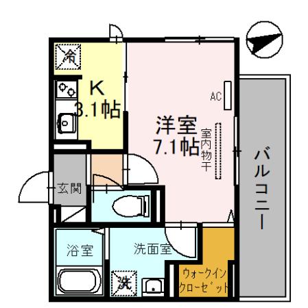 (仮称)D-room一乗寺高槻町・301号室の間取り