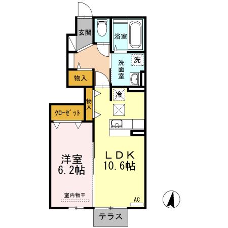 D-room彩都ピア参番館・B101号室の間取り