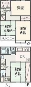 飯能テラスハウス・1号室の間取り