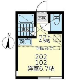 ユナイト小田ドビッシー・202号室の間取り