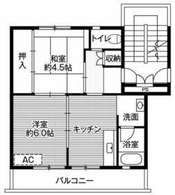 ビレッジハウス大平2号棟・0408号室の間取り